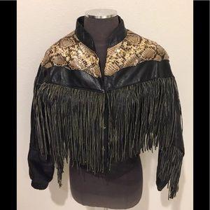 Real leather snake skin fringe jacket